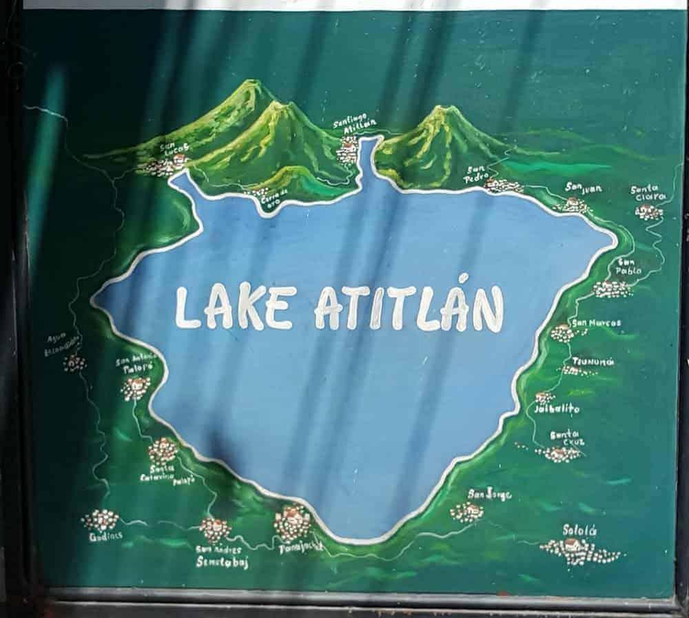 Lake Atitlan Map - Guatemala - Only Once Today