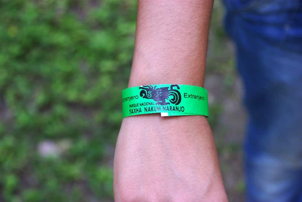 Extranjero Wrist band for Yaxha Nakum and Naranjo Ruins Guatemala