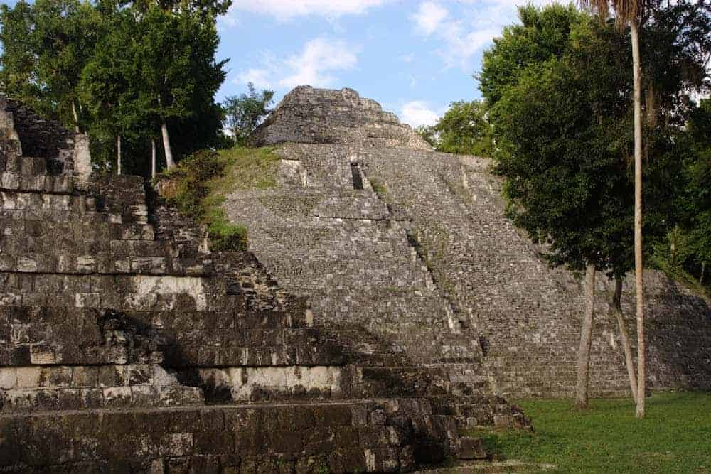 One of the larger temples in Yaxha Mayan Ruins Guatemala