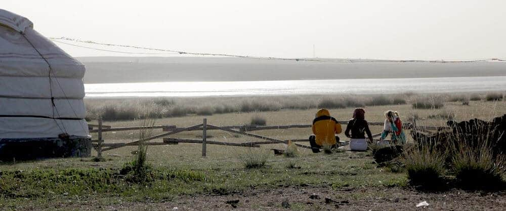 Travel Friends Sitting at our Inner Mongolian Yurt