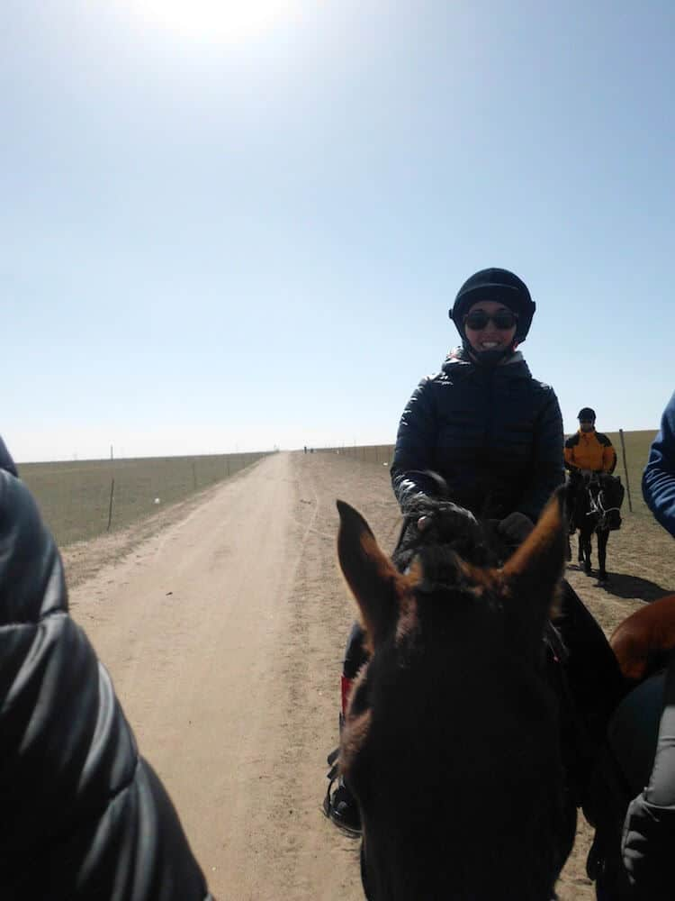 Inner Mongolia Tour - Lobke riding a stallion