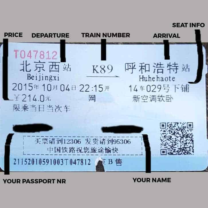 Chinese Train Ticket Explained - China Train Guide - Only Once Today