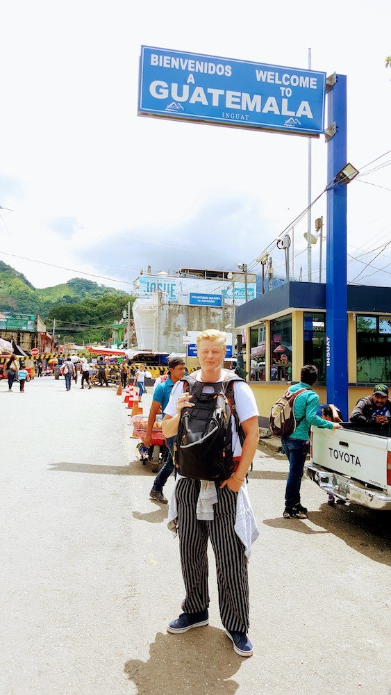 Crossing the border from Mexico into Guatemala at La Mesilla