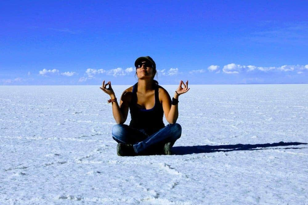Meditating... or not? Salt Flats Bolivia - Only Once Today