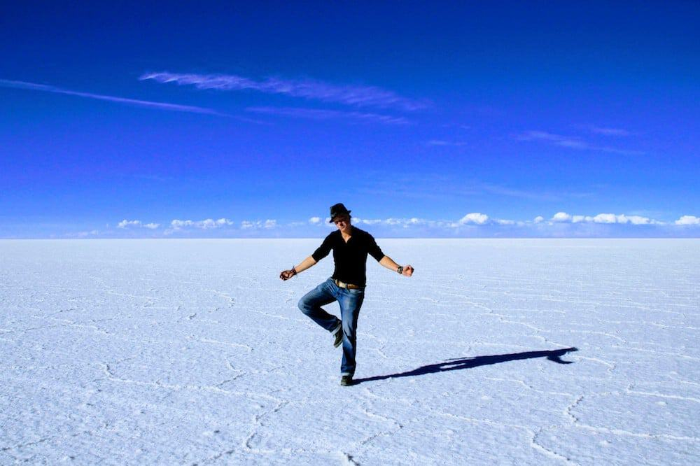 Striking a pose - Bolivian Salt Flats