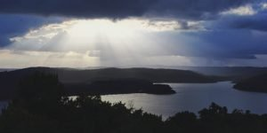 Sunset view over the lake in Yaxha Guatemala
