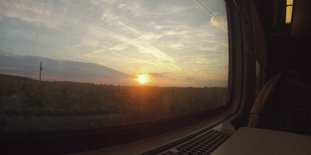 Sunset Train Europe