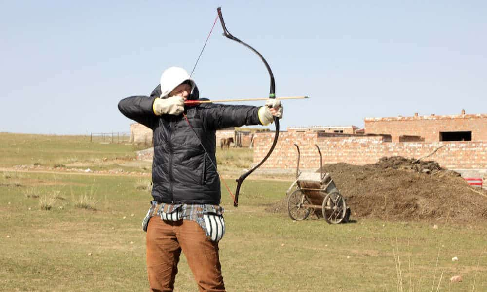 Inge doing archery
