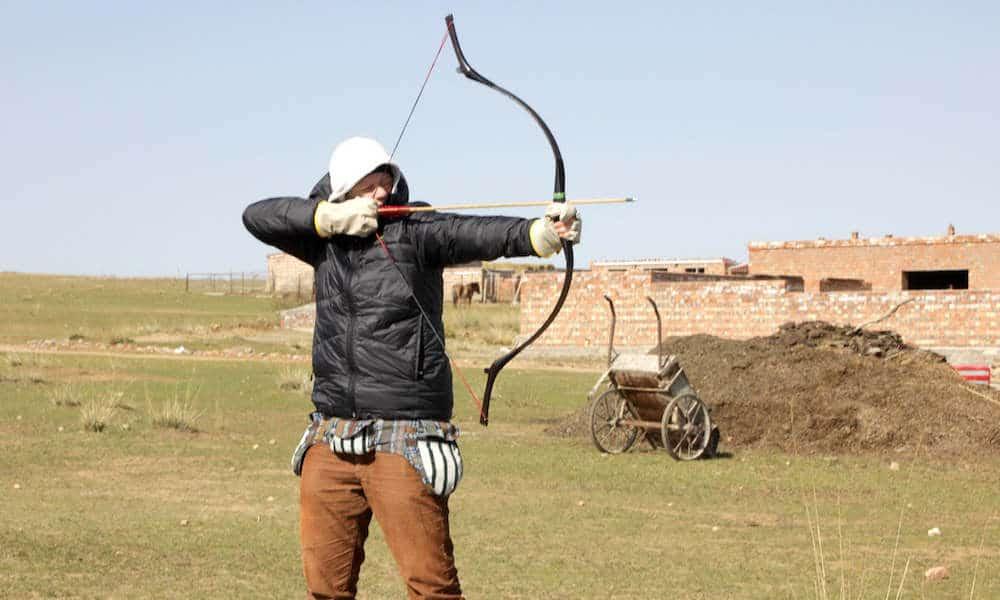 Inge doing archery
