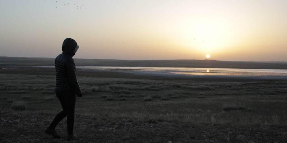 Lobke enjoying the sunrise