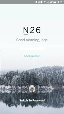 N26 app Screenshot Welcome