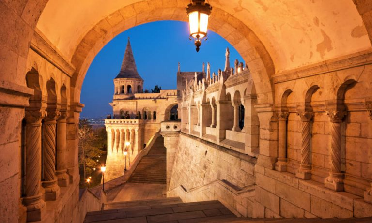 North gate of the Fisherman's Bastion in Budapest