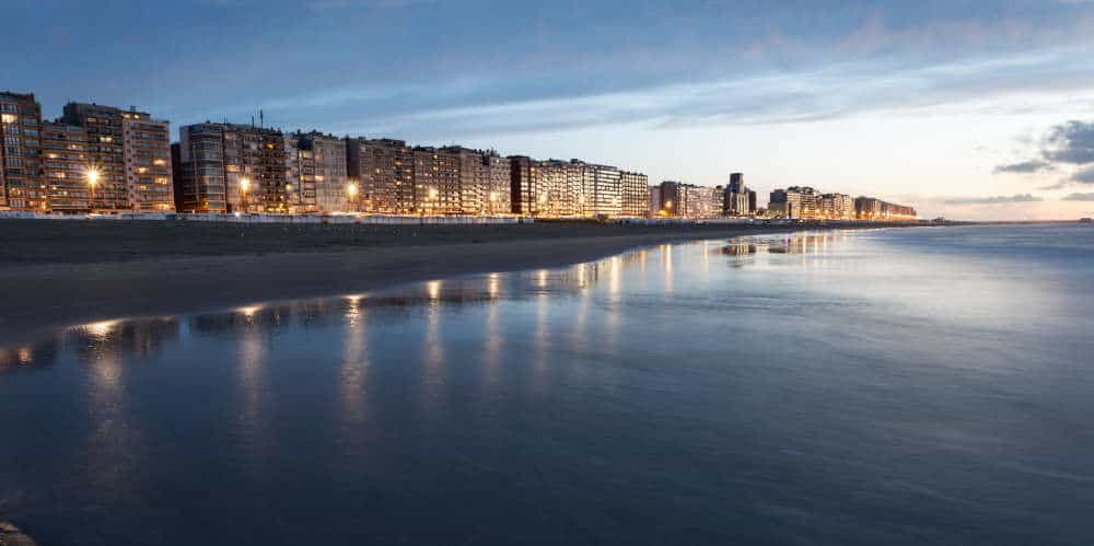 Beach in Blankenberge at sunset, Belgium