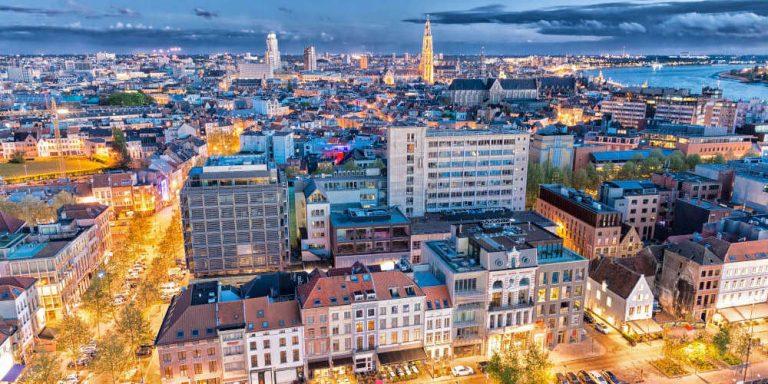 Antwerp, Belgium. Aerial city view at night