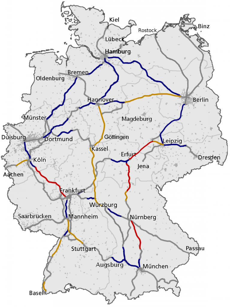 ICE Germany area of Operation - Europe train types and abbreviations - Travel Europe by Train - Only Once Today