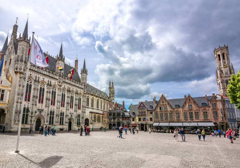 Markt Bruges with the Town Hall, Basilica of the Holy Blood and the Belfry Tower in the back