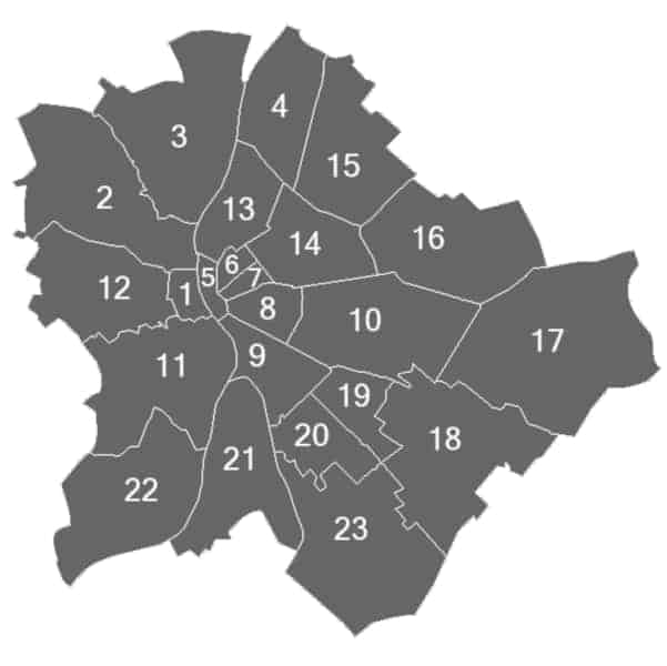 Budapest Districts numbered