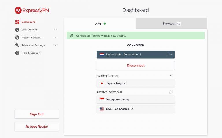 Express VPN dashboard